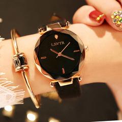Women's Fashion Rhinestone Watch Student Quartz Leather Strap Waterproof Watches Black belt black face Brand: LSVTR