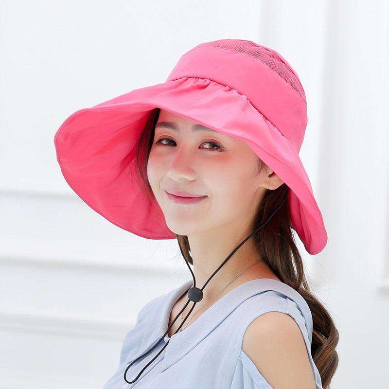 047baee2d2c9e Women s Summer Moisture-proof UV Visor Big Beach Sand Hat Foldable ...