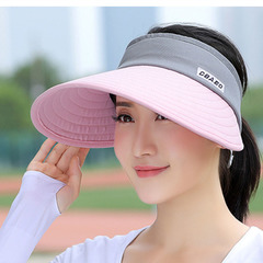 Comprehensive face protection sunscreen UV caps foldable men and women visor pink