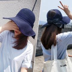 Woman Fashion Empty Top Hat Sunshade UV Fisherman Hat Butterfly Festival Straw Hats navy