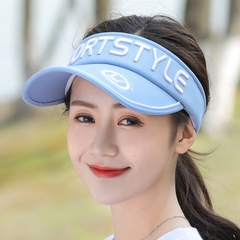 Men and Women Fashion Empty Top Hats Letter UV Couple Sports Baseball Caps blue Big brim