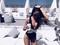 Women's Fashion Bikini Striped Cross Halter Swimwear Summer Beachwear Bathing One Piece Swimsuits black M