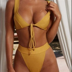 Women's fashion Bikini swimsuit split solid color gathered swimsuits yellow m