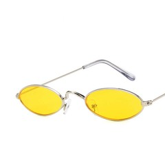 Men and Women Fashion Accessories Metal Cat Eye Sunglasses Retro Oval Hip Hop Sunglasses silver frame yellow lens one  size