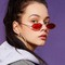 Men and Women Fashion Accessories Metal Cat Eye Sunglasses Retro Oval Hip Hop Sunglasses Gold frame red lens one  size