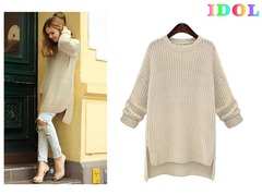 Women's Fashion Sweater Dresses Long Sleeve Sweater Knit Tops white wool