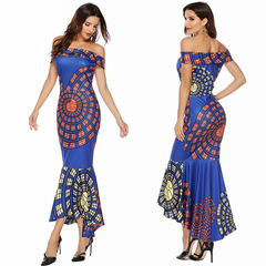 Woman sexy strapless dresses print slim dress bag hip fishtail dresses S blue