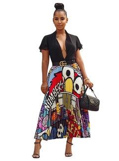 Women's Fashion Dresses Cartoon Beauty Print Elastic Waist Pleated Skirt Big Swing A word Skirts Blue white eyes S