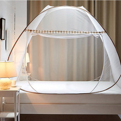 All-round 360 encryption thickening mosquito net portable adult student mosquito net home bedding (Upgrade encryption) Light brown Width 1.0 length 1.9 height 1.0m