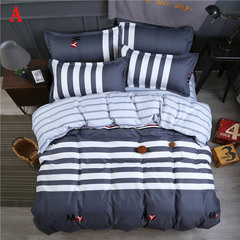 4 pcs Home bedding set(duvet cover+bed sheet + 2 pillow covers)student dormitory 3pcs bedding set A 1.2 meters (4 feet)three-piece
