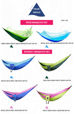 Double portable parachute hammock outdoor camping leisure swing & mosquito net sleepingbag (without mosquito net) royal blue spell sky blue