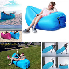 Outdoor portable inflatable sofa inflatable recliner inflatable bed sleeping bag beach bed blue