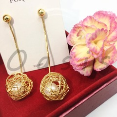 Oasis Brand-1 Pair Fashion Hollowing Out Rose Gold Ball Accessorized Pearl Long Earings Drop women golden one size