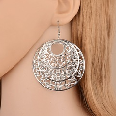 Oasis 1 Pair Round Circle Plated Rose Gold Ethnic Style Top Selection Studs Earring For Gift Women silver one size