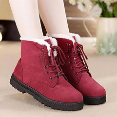Snow boots 2018 classic heels suede women winter boots warm fur plush Insole ankle boots women shoes wine red 34