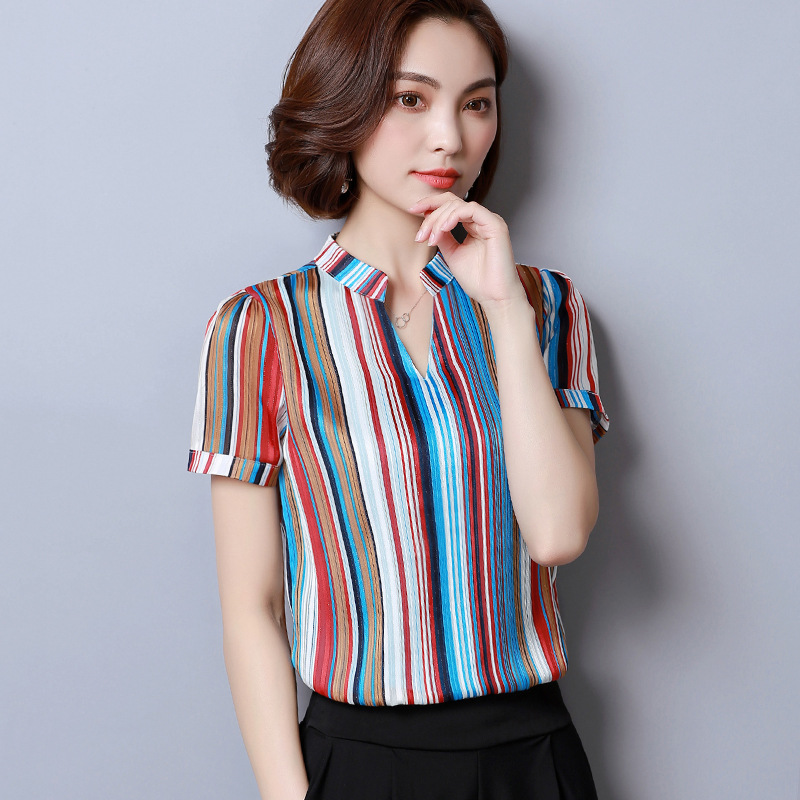 1c00cae50e7ecb Summer 2019 new woman T-shirt Short sleeve Skinny models Chiffon shirt  Self-cultivation