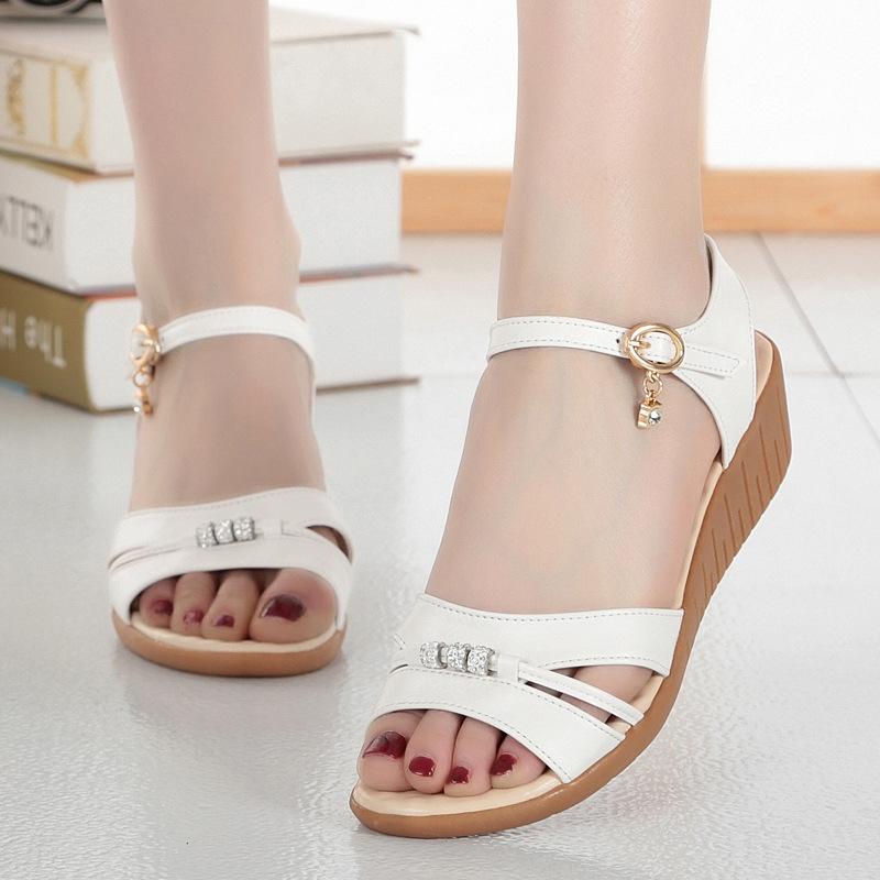 6e07d2addcdc 2019 Women sandals white flat wedge sandals Summer ladies peep toe high  heels Platform white flipflops heeled sandals