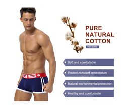 4PCS HOT SELL Men's Solid Underwear Knickers Boxer Shorts Bulge Pouch Underpants mens underwear 4 colors L