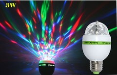 Colorful Auto Rotating  LED Bulb Stage Light Party Lamp Disco for home decoration lighting lamps E27 mini 3w