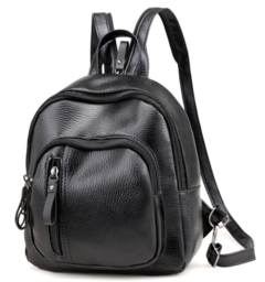 Bags Women Bags Leather shoulder backpack lady fashionable small backpack breastpack lady black 23*10*25cm
