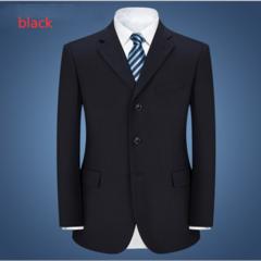 Men's Suit Black Three-grain Button High-end Business Work Junior Professional Suit Wedding Black 165/88A