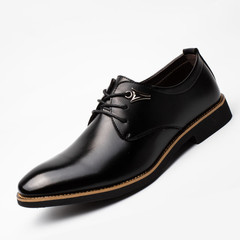 Shoes Men's Leather Shoes Boots Men Leather Shoes Mens Formal Business Pointed Lace Shoes black 38 leather