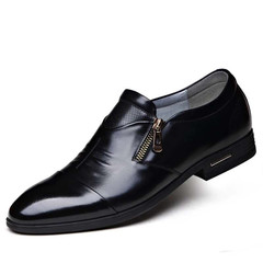 Leather Shoes Men  Shoe Men Zipper Shoes  Formal  Leather Shoes Leisure Shoes Leather Boots Men black 38 leather