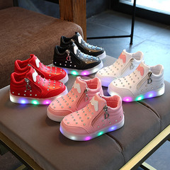 Kids Shoes For Girls Kid Shoes Kids Shoes Girl With Water Drill LED Night Light luminous Shoes pink 21