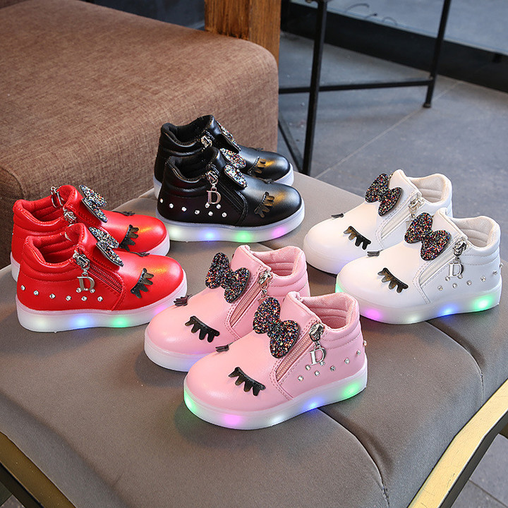 Girls Shoes Baby Kids Shoes Girls Shoes With Water Drill Light Kids Shoes Night Light Luminous Shoes pink 21