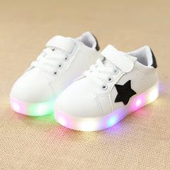 Kids Shoes Boys And Girls Shoes Colorful Luminous Shoes LED Flashing Anti-skid Luminous Shoes white 21