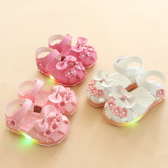 Kids Sandals Girls Shoes With  LED Light-emitting Girls Sandals Breathable Baby Shoes For Girls pink 21