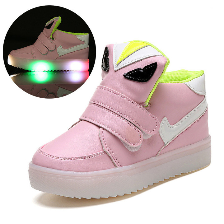 Kids Shoes Girls Kids Shoes Boys Cartoon Luminous Children's Shoes LED Boys And Girls Leisure Shoes pink 21