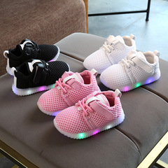 RONI Baby boy fashion glowing casual shoes girl kids LED flash breathable sports shoes black 21