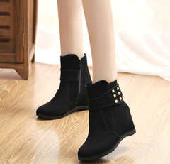 Boots Women Boots Ladies Shoes Women Shoes Ladies Martin Boots Cows Back-down Heels Women black 36