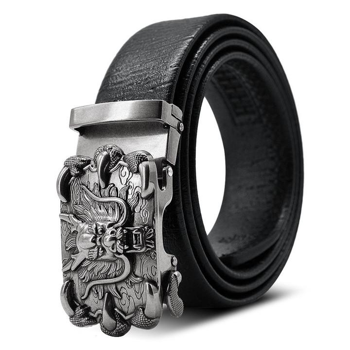 Belts Men's Classic Retro Golden Faucet Belt Men's Automatic Buckle Jeans Belt Antique Belt silvery normal