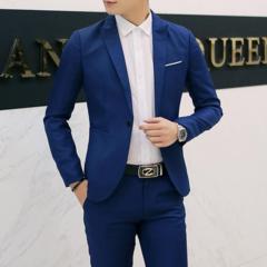 Suits Men Suits Mens Suit Jacket Men Coat suit(Clothes + trousers) clothing Men Suits For Men navy blue M
