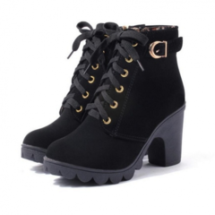 Boots Women Boots Ladies High Quality Solid Lace-up Ladies Shoes PU Leather Fashion Shoes Women black 36