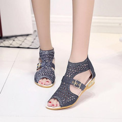 Sandals Women Sandals Ladies Open Toe Ankle Boots Sandal Woman Crystal Sandalias Bling Wedges Shoes black 36
