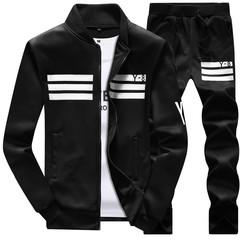 Clothes Men Long-sleeved Sports Casual Suit(Coat+trousers) Baseball Jackets Suit For Men Coats black M