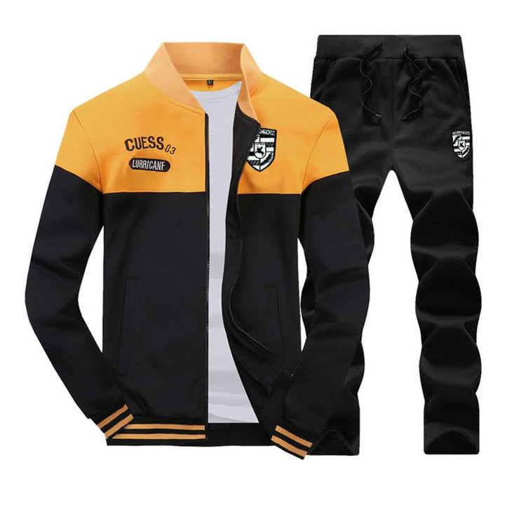 Suits Men's Two-piece(Coat + trousers) Long-sleeved Sports Suit Baseball Clothing Sweater Men yellow L