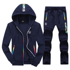 Clothes Men Sports Suits Men's Daily Outdoor Cap and Long Sleeve Collar Suit (Clothes + Trousers) navy blue M