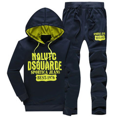 Suits Men Leisure Sports Suits Two Pieces Suit(Clothes + trousers) Of Hoodie Suit Clothes Men navy blue M