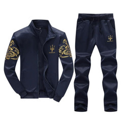 Suits Men's Suit Clothes Men Casual Long-sleeved Two-piece Suit(Jacket Sweater And Trousers) blue M