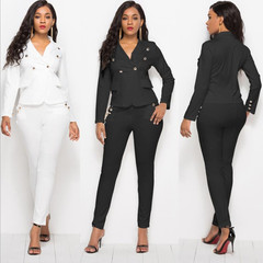 Suits Ladies Suits Women Leisure Fashion Suit (Clothes + Trousers)  Clothes Women Suits For Women black M