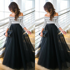 Dresses Ladies Dresses Women Dressed One-character Shoulder Striped Gauze Dress For Women S black