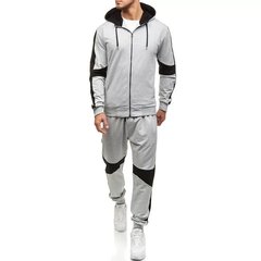 Suits Men's Sports Suit((clothes + trousers) Leisure Long Sleeve Sports Clothes Suits For Men grey m