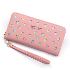 Handbags Women Lady Wallets Long Zipper Large Capacity Bag Love Color Handbags Ladies Wallets Ladies pink normal