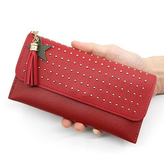 Wallets Ladies Retro Simple Riveted Wallet Lady's Long Wallets Women's Wallet Change Handbags Ladies red normal