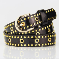 Belts Ladies Belts Women Ladies'Leisure Rivet Belt Ladies' Painted Belt Alloy Button Belt Women black normal