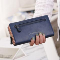 Multicolor Leather Wallets Handbags Female Long Paragraph Leather Wallet Purse For Women Handbags blue normal